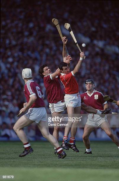 General action during the all Ireland hurling final between Cork and Galway in Ireland Cork won the match 30 27 Mandatory credit David Cannon/Allsport