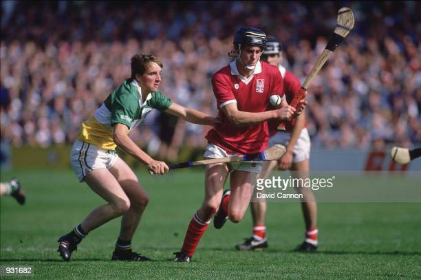 General action during the all Ireland hurling final between Offaly and Cork in Ireland Mandatory credit David Cannon/Allsport