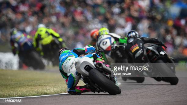 General action during the British Superbikes Championships at Thruxton Circuit on August 04, 2019 in Andover, England.