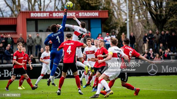General action during the DFB Juniors Cup Semi Final match between VfB Stuttgart U19 and SC Freiburg U19 on March 16, 2019 in Stuttgart, Germany.