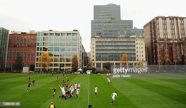 General action during the friendly match between Saracens and USA at the Honourable Artillery Company on November 9 2010 in London England