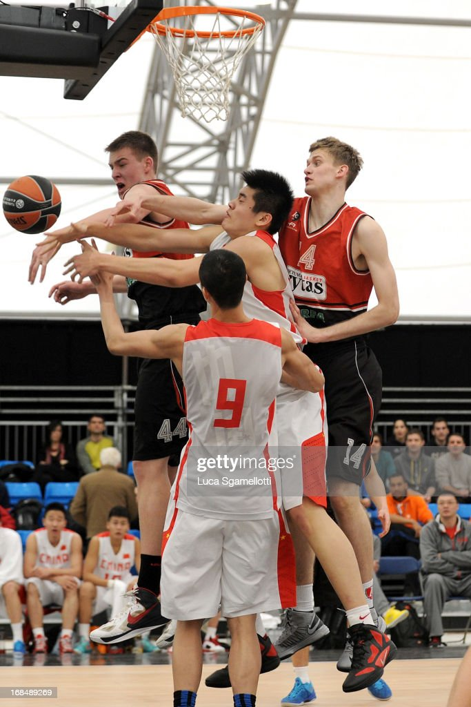 General action during the Nike International Junior Tournament game between Lietuvos Rytas Vilnius v Team China at London Soccerdome on May 10, 2013 in London, United Kingdom.