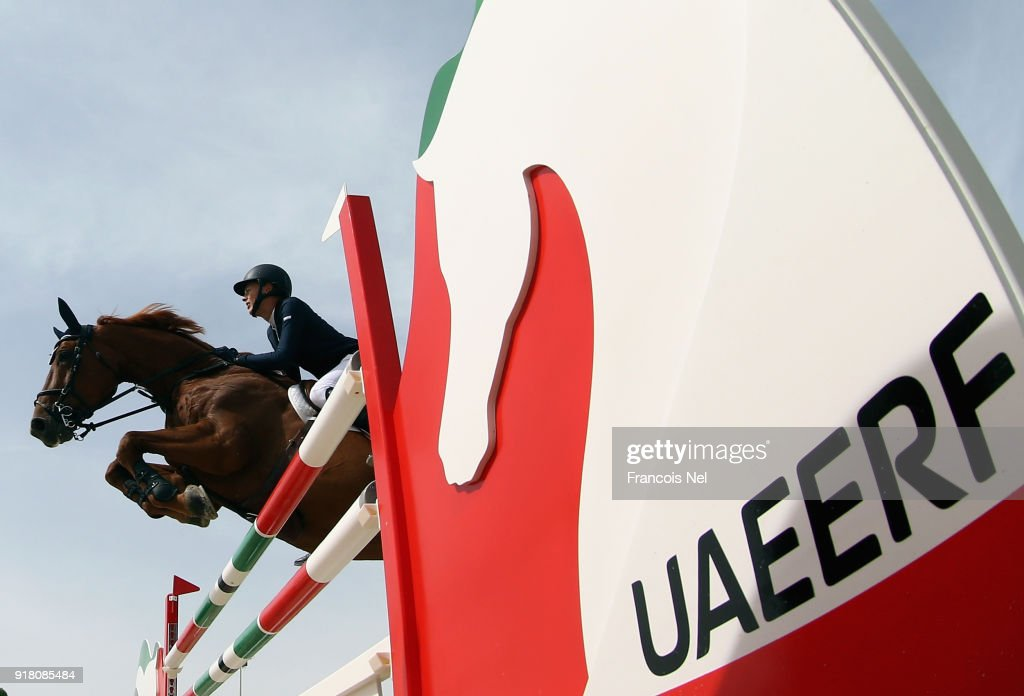 General action during the The President of the UAE Show Jumping Cup at Al Forsan on February 14, 2018 in Abu Dhabi, United Arab Emirates.