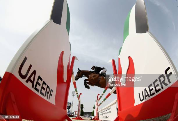 General action during the The President of the UAE Show Jumping Cup at Al Forsan on February 14 2018 in Abu Dhabi United Arab Emirates