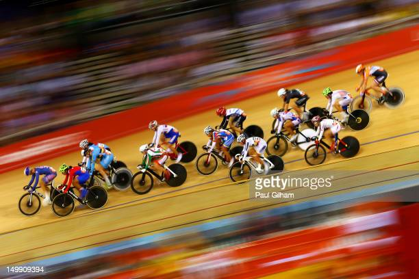 General action during the Women's Omnium Track Cycling 20km Points Race on Day 10 of the London 2012 Olympic Games at Velodrome on August 6, 2012 in...