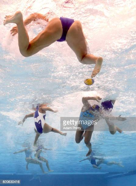 General action during the Women's Water Polo classification match between Japan and Kazakhstan on day nine of the Budapest 2017 FINA World...