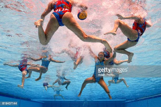 General action during the Women's Water Polo Group D preliminary round match between Russia and Kazahstan on day seven of the Budapest 2017 FINA...