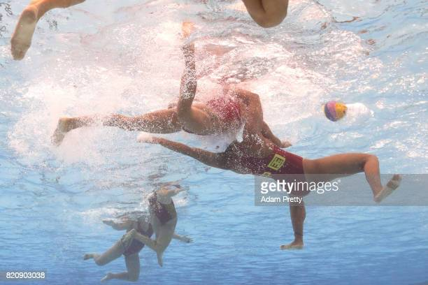 General action during the Women's Water Polo preliminary round match between China and Spain on day nine of the Budapest 2017 FINA World...