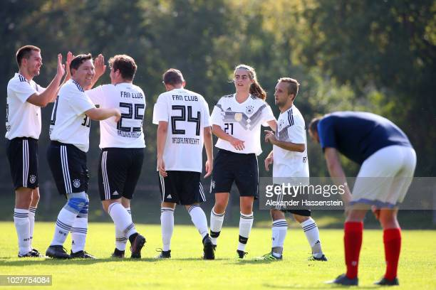 General action is seen during a fan match between teams from Germany and France at Bezirkssportanlage Bauernfeindstrasse on September 6 2018 in...