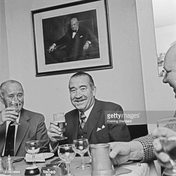 General Adolf Galland , a former Luftwaffe flying ace, UK, 9th May 1974. Behind him on the wall is a portrait of British wartime Prime Minister...