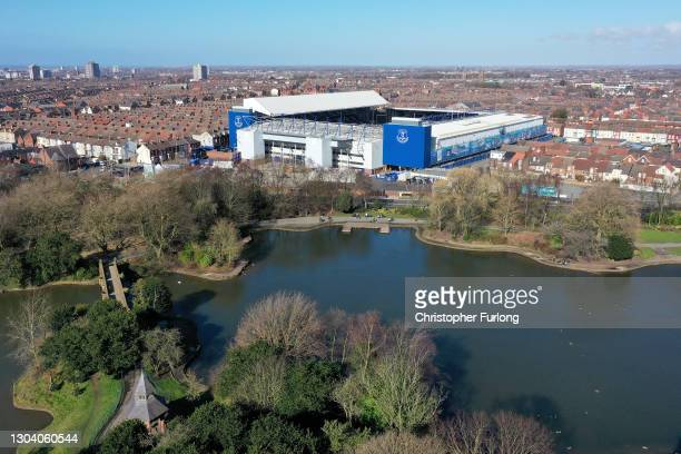 General aerial drone view of Goodison Park the home of Everton Football Club on February 25, 2021 in Liverpool, England. Everton FC have been granted...