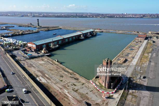 General aerial drone view of the Bramley Moore Dock where Everton Football Club plan to build their new stadium on February 25, 2021 in Liverpool,...