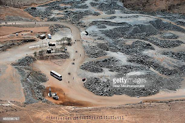 A general aerial view as tourists on a bus visit the site famous for the Chilean mining accident in 2010 on January 17 2014 in Copiapo Chile The 2010...