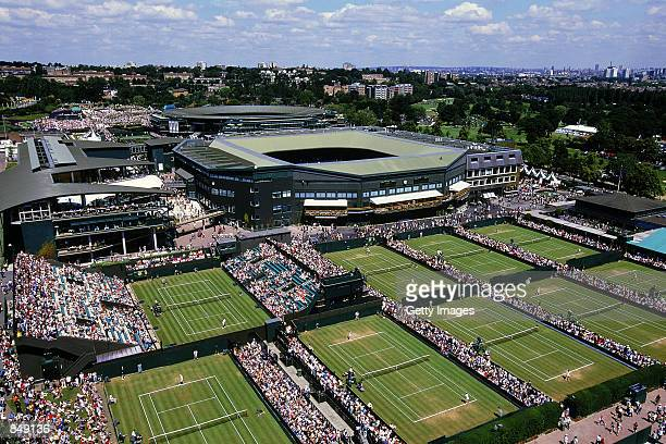 General aerial view during the Lawn Tennis Championships at the All England Club in Wimbledon England on June 24 2002