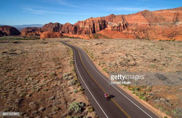 General aerial view of Age Group Triathletes biking through Snow Canyon during the IRONMAN 70.3 St George Utah on May 5, 2018 in St George, Utah.