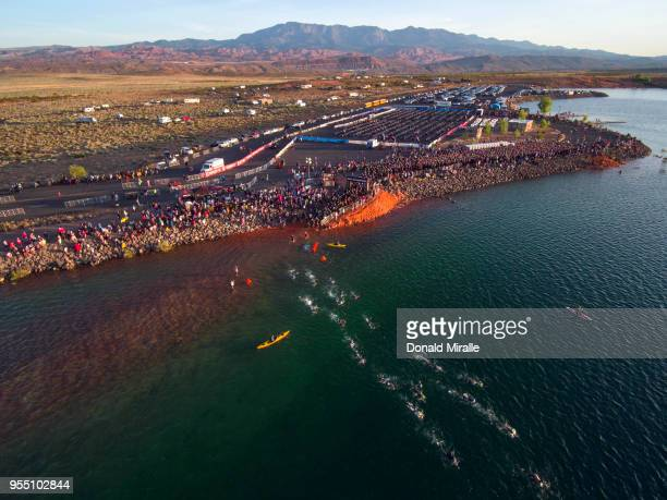 General aerial view of Age Group Triathletes swimming in the Sand Hallow State Park during the IRONMAN 70.3 St George Utah on May 5, 2018 in St...