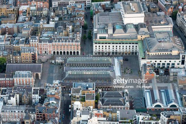 General aerial view of Covent Garden and the Royal Opera House in central London