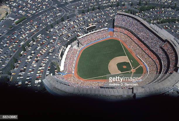 A general aerial view of Dodger Stadium taken during a 1985 season game in Los Angeles California