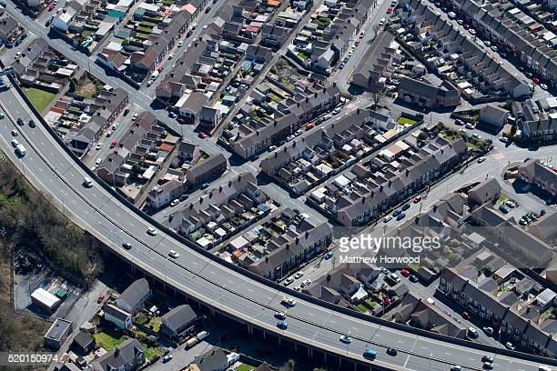 General aerial view of houses in Port Talbot near the M4 motorway on April 9, 2016 in Port Talbot, Wales. Indian owned Tata steel has threatened to...