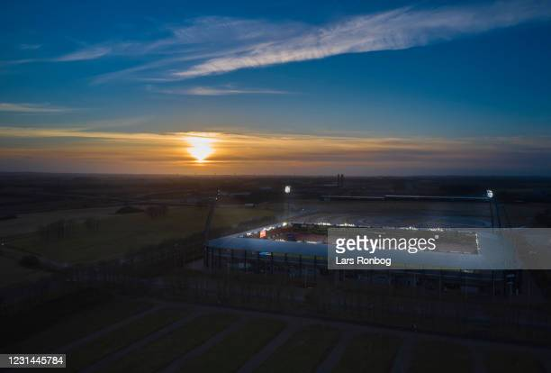 General aerial view of MCH Arena in the sunset prior to the Danish 3F Superliga match between FC Midtjylland and Brondby IF at MCH Arena on February...
