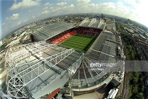 A general aerial view of Old Trafford in August 2000