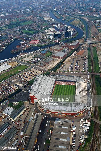 A general aerial view of Old Trafford Manchester United FC during the Euro'96 match between Russia and Germany on June 16 1996 in Manchester England