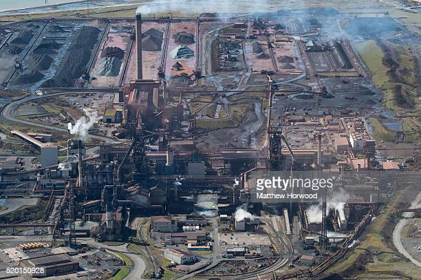 General aerial view of Tata steel on April 9, 2016 in Port Talbot, Wales. Indian owned Tata steel has threatened to pull out of all its UK operations...