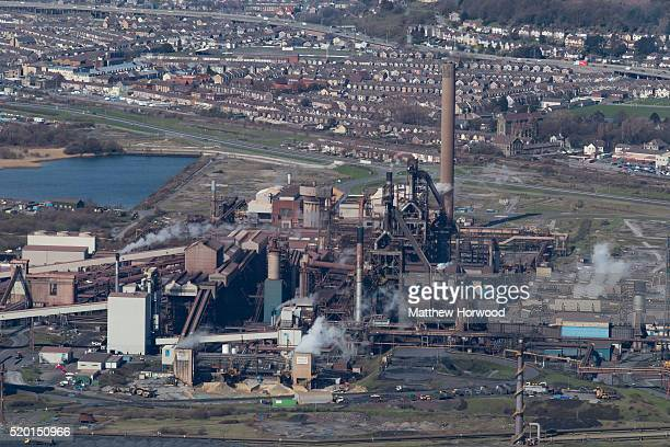 A general aerial view of Tata steel on April 9 2016 in Port Talbot Wales Indian owned Tata steel has threatened to pull out of all its UK operations...