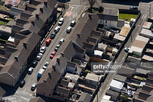 A general aerial view of terraced houses in Port Talbot on April 9 2016 in Port Talbot Wales Indian owned Tata steel has threatened to pull out of...