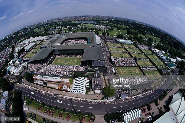 A general aerial view of the Center and outside courts during the Wimbledon Lawn Tennis Championship on 25th June 1993 at the All England Lawn Tennis...
