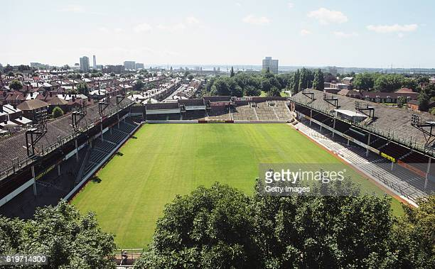 General aerial view of The Dell, home of Southampton FC between 1898 and 2001, pictured on July 1, 1980 in Southampton, England.