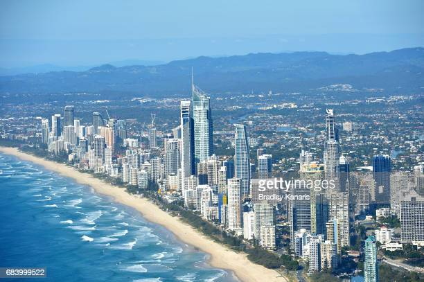 A general aerial view of the Gold Coast is seen on May 17 2017 in Gold Coast Australia The 2018 Commonwealth Games will be held on the Gold Coast...