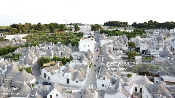 A general aerial view of the historic center on May 24 2020 in Alberobello Italy Restaurants bars cafes hairdressers and other shops have reopened...