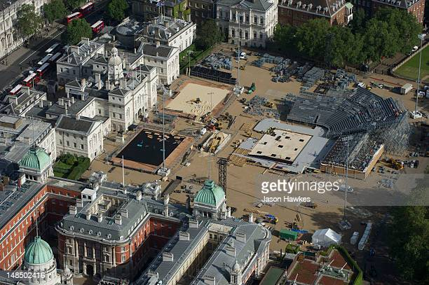 A general aerial view of the Horse Guards Parade with beach volleyball courts on June 282012 in LondonEngland