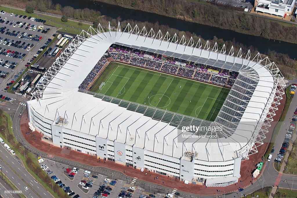 Aerial Views Of Swansea City's Liberty Stadium : Nachrichtenfoto