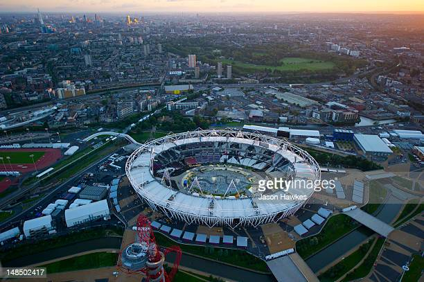 A general aerial view of the Olympic Stadium at the 2012 Olympic Park on June 282012 in StratfordLondonEngland