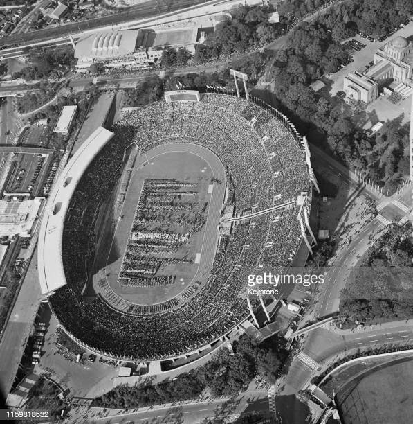 General aerial view of the opening ceremony at the National Stadium for the XVIII Summer Olympic Games on 10th October 1964 at the National Stadium...
