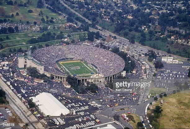 General aerial view of the Rose Bowl stadium in Pasadena California