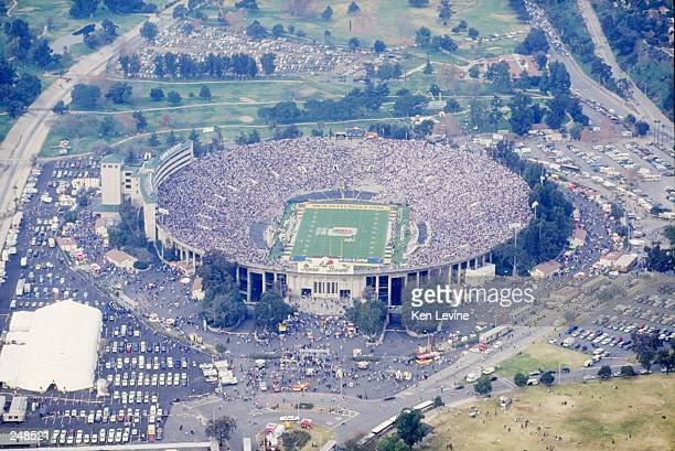 General aerial view of the Rose Bowl stadium in Pasadena California