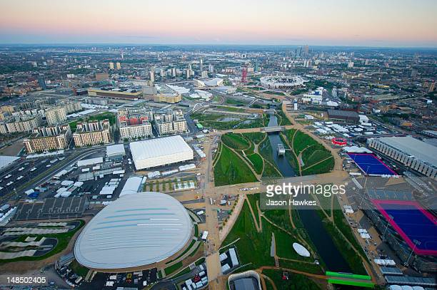 A general aerial view of the Velodrome and Basketball Centre at the 2012 Olympic Park on June 282012 in StratfordLondonEngland