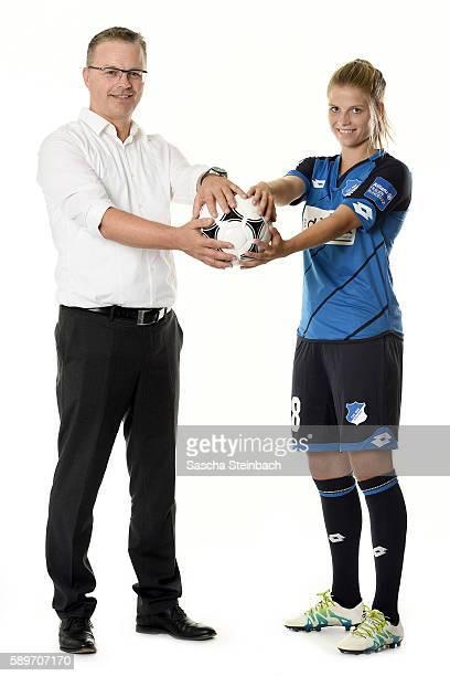 General agent of Allianz insurance Juergen Zimmermann and Tabea Wassmuth of TSG 1899 Hoffenheim pose during the Allianz Women's Bundesliga Club Tour...