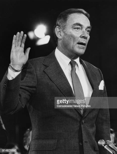 General Alexander Haig is sworn in at his confirmation hearing as the new Secretary of State under US President Ronald Reagan before the Senate...