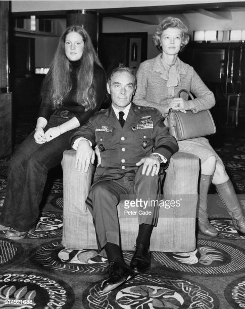 US General Alexander Haig Supreme Allied Commander Europe with his wife Patricia and daughter Barbara at the Savoy Hotel in London 21st October 1975
