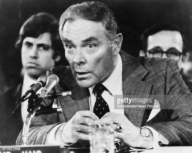 General Alexander Haig testifies at his confirmation hearing as the new Secretary of State under US President Ronald Reagan before the Senate Foreign...