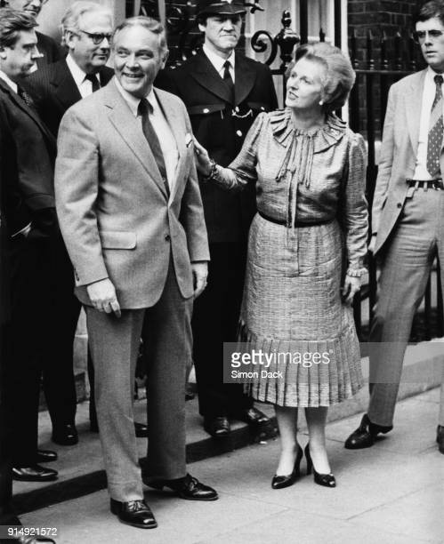 General Alexander Haig the US Secretary of State under President Ronald Reagan meets British Prime Minister Margaret Thatcher outside 10 Downing...