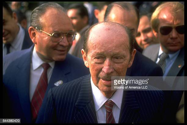 General Alfredo Stroessner military leader of Paraguay from 19541989 on a visit to New York in 1988