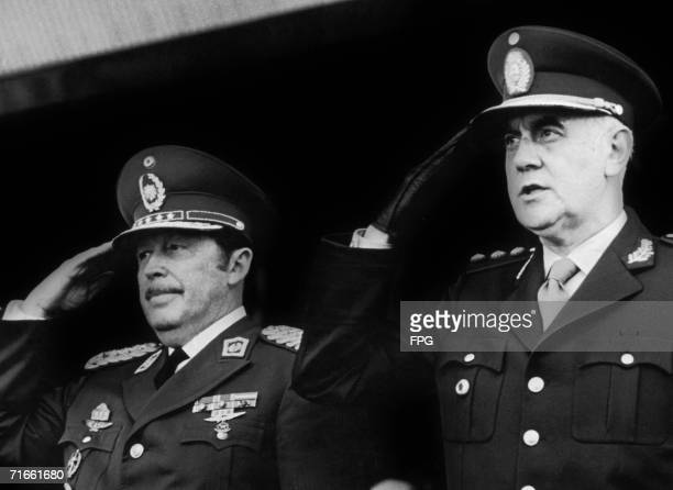 General Alfredo Stroessner the President of Paraguay poses with Alejandro Agustin Lanusse Gelly the President of Argentina