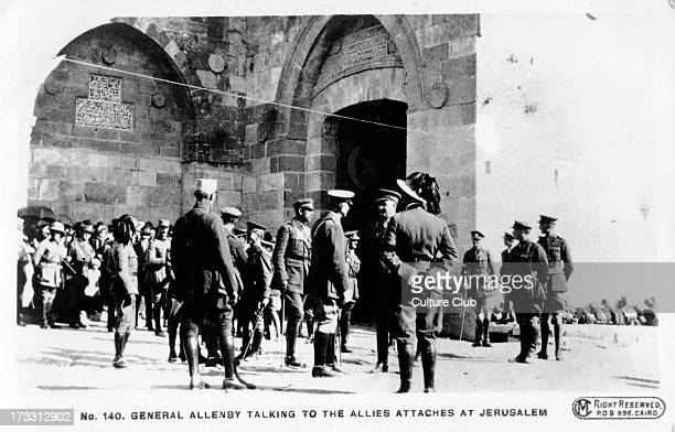 General Allenby talking to officers from allies at entrance to old city of Jerusalem 1917 World War I