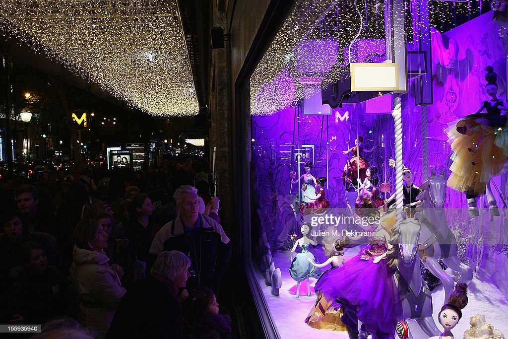 A general ambiance of atmosphere of the Christmas illuminations at Printemps Haussmann on November 9, 2012 in Paris, France.