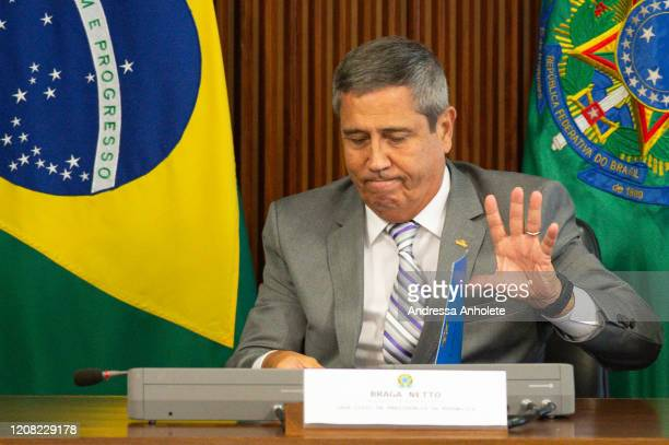 General and Minister of the Civil House Braga Netto speaks during the Supreme Meeting Room of the COVID 19 Crisis Committee of the Operations...
